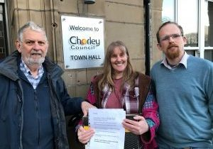 Dave, Jane an Andy deliver the petition to Chorley Council